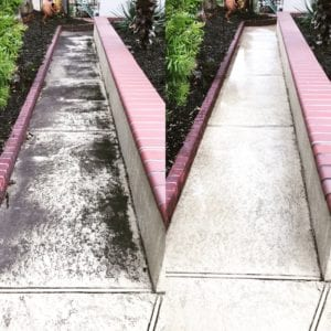 """PRESSURE WASHING SOLUTIONS Think about the wear and tear that your concrete surfaces are exposed to in a day. Vehicles, people, the elements… These are surfaces that are constantly interacting with external factors. Our job is to restore your concrete to """"just like new"""" condition. We use power washing to remove dirt, grime, algae, chewing gum, and more from your concrete and driveway. A good rule of thumb: If it doesn't belong there, our team will get rid of it safely and efficiently. We rely on the best commercial pressure washing equipment on the market and combine it with a special blend of cleaning agents. This allows us to loosen any unwanted debris and remove stains, discoloration and fading."""