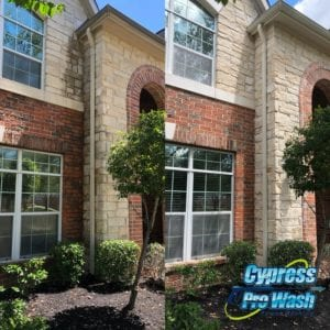 """HOUSE WASHING Your home should be a beacon of curb appeal. Invest in the beauty of your home – today and into the future – with the help of Cypress Pro Wash! OUR SOFT WASHING SOLUTION Cypress Pro Wash balances superior results with safe service. That's why we're committed to soft washing as our go-to method for your home. This technique uses lower water pressures to gently remove buildup from your exterior. We also use a powerful blend of environmentally-friendly cleaning detergents, which keeps the grime away for longer as well as effectively restores that """"just like new"""" aesthetic to your home. Texas weather is beautiful, but it can take a toll on your home. We remove dirt, mold, algae, rust, and other buildups that otherwise bring down the curb appeal and long-term value of your property."""